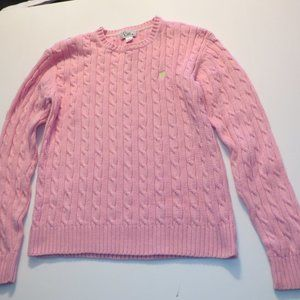 Lilly Pulitzer Pink Cable Crew Neck Sweater Size L